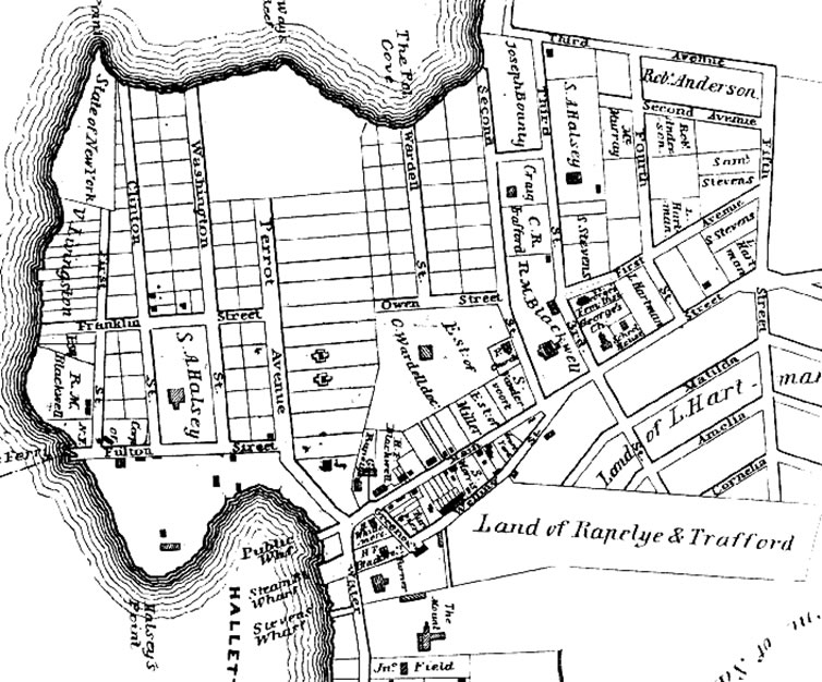 Map of the newly incorporated Village of Astoria. Source: http://www.pefagan.com/gen/queens/qmp_hal1840.htm