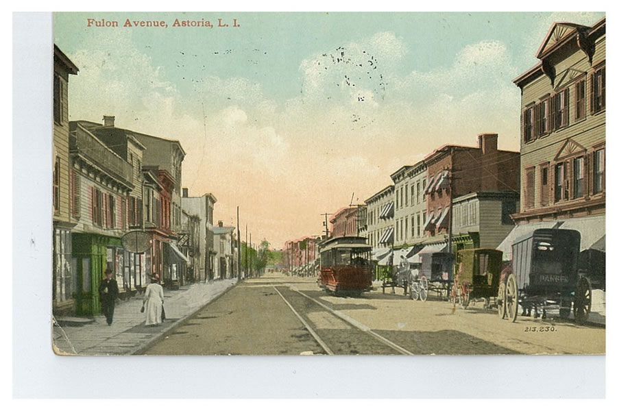 Fulton Avenue, today's Astoria Boulevard, was a busy road leading the Astoria ferry landing. Courtesy of Dominique Perot.