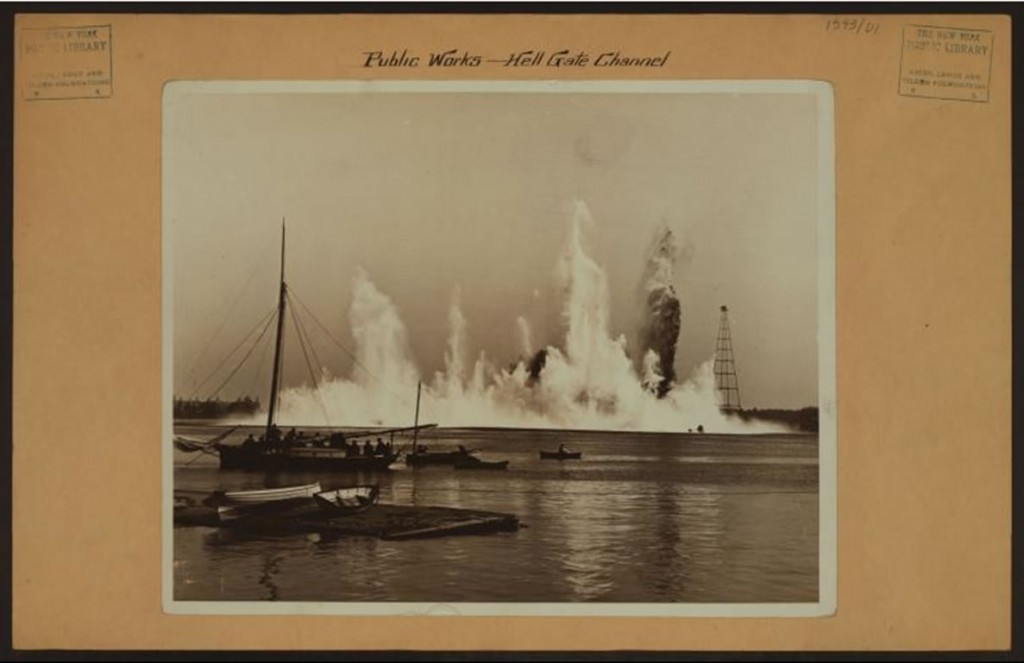 Crowds gathered to watch and photograph the Flood Rock Explosion. Courtesy of the New York Public Library.