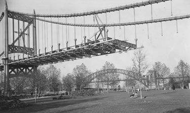 Astoria Park's great lawn during construction of the Triborough Bridge. Photographer: Percy Loomis Sperr. Courtesy Al Ponte's Time Machine