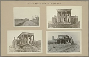 These waterfront villas, built in Ravenswood during the 1800s, were abandoned and crumbling a hundred years later. Courtesy of the New York Public Library.
