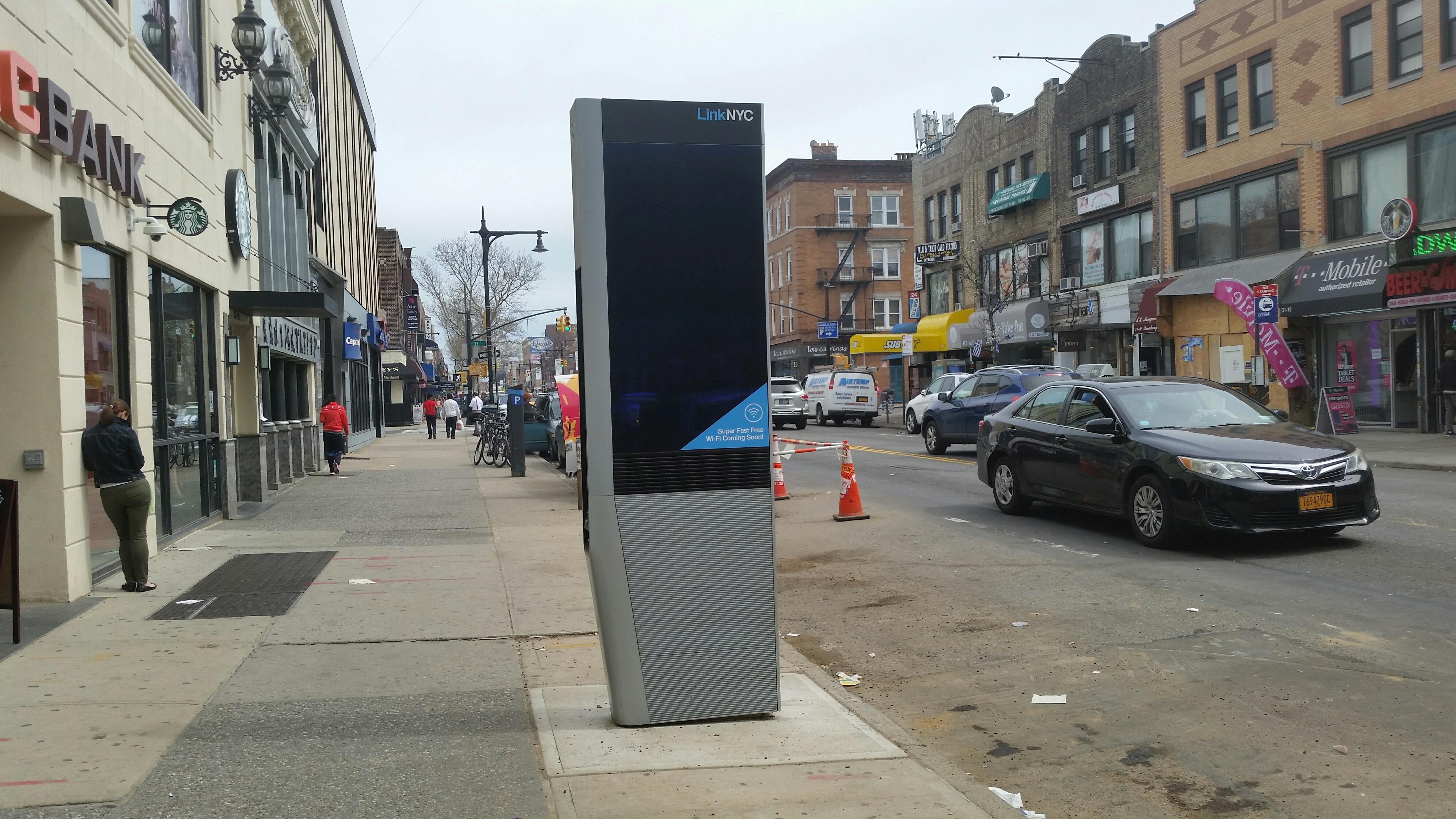 LINK NYC Kiosks Seen in Astoria