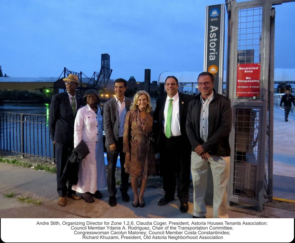 Pre-launch: Andre Stith, Organizing Director, Zone 126; Claudia Coger, President, Astoria Houses Tenants Association; Council Member Ydanis A. Rodriguez, Chair of the Transportation Committee; Congresswoman Carolyn Maloney; Council Member Costa Constantinides; Richard Khuzami, President, Old Astoria Neighborhood Association