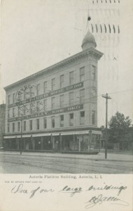 Gally Furniture was located in the Astoria Flatiron building in 1906. Courtesy of the Queens Borough Public Library, Post Card Collection