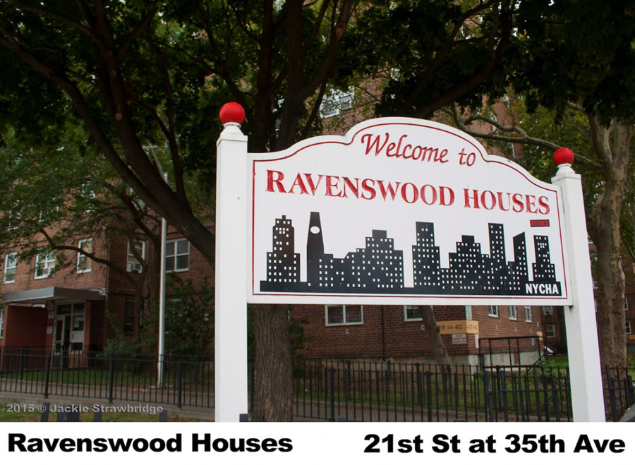 Ravenswood Houses in Queens consists of 31 buildings, six- and seven-stories tall with 2,167 apartments housing an estimated 4,541 people. The 38.29-acre complex was completed July 31, 1951 and is bordered by 12th and 24th Streets, 34th and 36th Avenues.