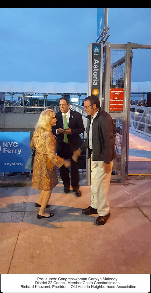 Pre-launch: Congresswoman Carolyn Maloney; District 22 Council Member Costa Constantinides; Richard Khuzami, President, Old Astoria Neighborhood Association