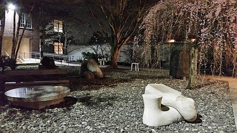 Noguchi_Museum garden at night