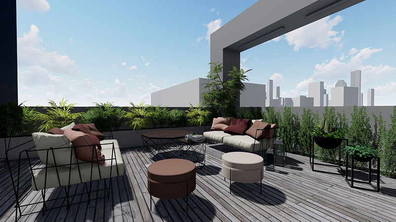 Rendering of terrace areas at 37-24 10th Street – Node Architecture, Engineering, Consulting P.C.